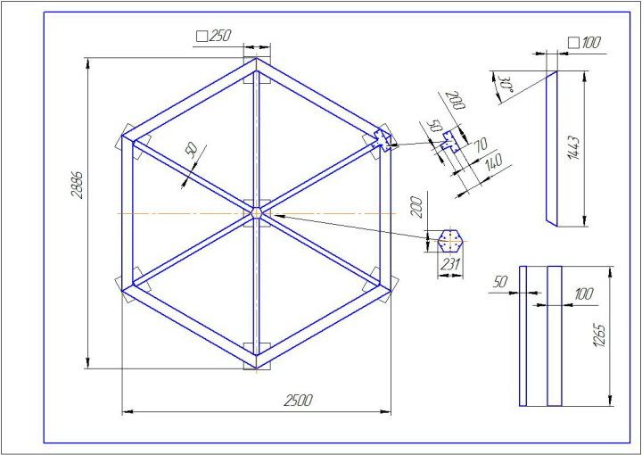Беседка шестигранная - чертеж основания