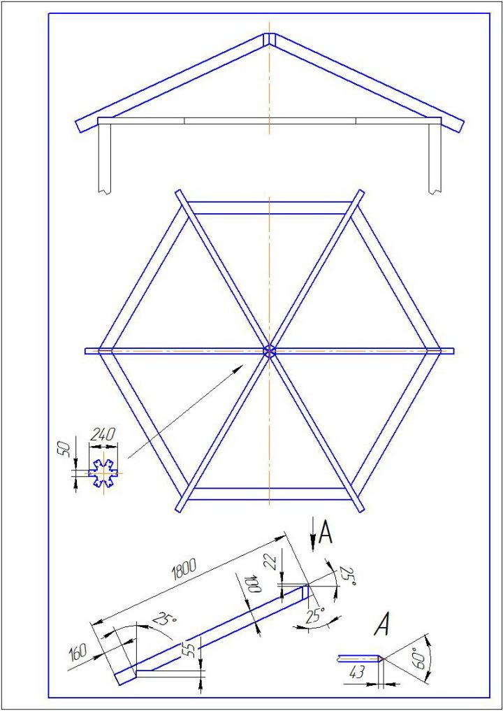 Беседка шестигранная - чертеж стропила