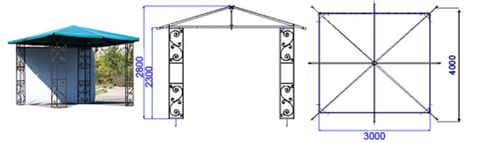 Беседка из профильной трубы своими руками чертежи квадратная