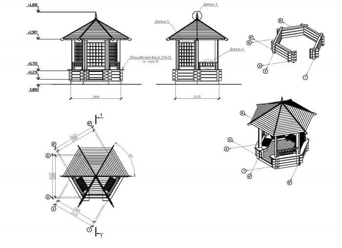 конструкции деревянных беседок