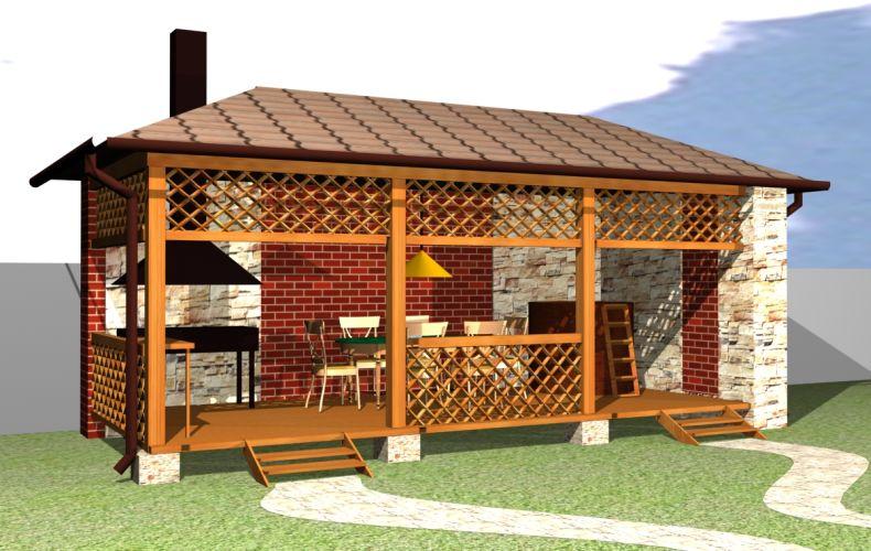 Проекты и фото летних кухонь для дачи 66